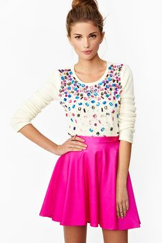 Love this sweater for winter! Make the skirt hot pink pants and I'm set :)