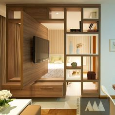 Bedroom Tv Stand Ideas New Gerelateerde Afbeelding Interior Ideas Bedroom Tv Stand, Bedroom Tv Wall, Living Room Tv, Home And Living, Tv Stand Ideas For Living Room, Small Apartments, Small Spaces, Tv Stand Room Divider, Room Divider Ideas Bedroom