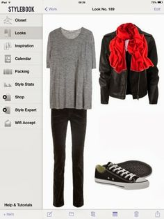 What to wear with black Converse: black jeans, grey top, leather jacket and red scarf.