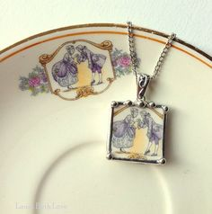 Broken china necklace pendant Antique colonial courting couple broken china jewelry