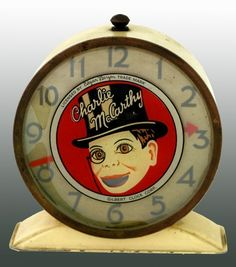 Rare Charlie McCarthy Alarm Clock Made by Gilbert Clock Co