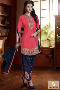 Kameez Royal blue pink cotton chiffon patiala salwar suit online shop on discount price best deal for Indian culture trendy traditional fashion. #salwarsuit, #patiaiasalwarsuit more: http://www.pavitraa.in/store/patiala-salwar-suit/