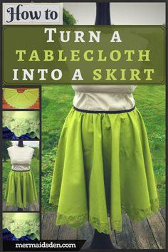 Sewing Tutorial: Turn a Vintage Tablecloth into a Skirt. Easy beginner sewing project!
