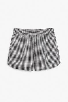 Monki Image 1 of Soft cotton shorts in Black
