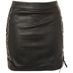 Topshop Lace Up Side Faux Leather Skirt (400 SEK) ❤ liked on Polyvore featuring skirts, topshop, black, topshop skirts, lace up skirt, leather look skirt, faux leather skirt and fake leather skirt