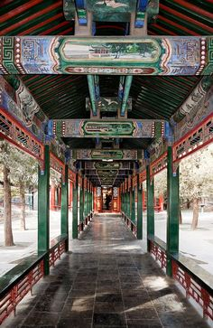 The Summer Palace, Beijing, China. The Long Corridor was first built in 1750, when the Qianlong Emperor commissioned work to convert the area into an imperial garden. The corridor was constructed so that the emperor's mother could enjoy a walk through the gardens protected from the elements.: