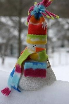 Light blub snowman.  Spray paint, sprinkle with sugar, paint again to keep the sugar in place - this is what gives the snowman the awesome texture.  Add a fleece hat, scarf, and a nose and look how cute he is!!