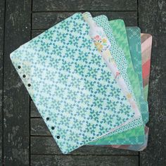 $14  A5 Filofax dividers - set of 6, tabs on right hand slide.  Gorgeous Greens