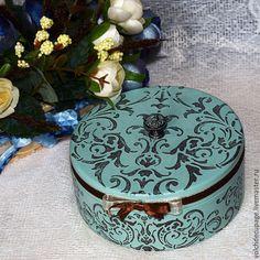 Купить Шкатулка Восточная - бирюзовый, шкатулка, шкатулка для украшений, шкатулка круглая, шкатулка деревянная