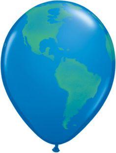 "11"" Earth Globe Balloon - Latex - 10 PACK! - D & L Toys LLC - ""BEACHBALLWORLD"""