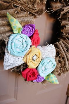 Burlap Wreath with spring details 16 inches by BlissBanners, $35.00