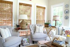 Like the window treatment  Savvy Southern Style: Refreshed Sun Room