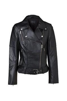 Classic Biker Jacket – Black – Silver Hardware