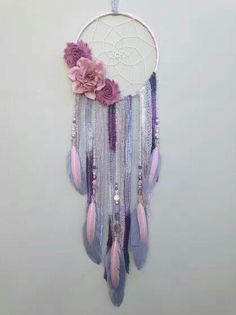 Flower Dream Catcher, Dreamcatcher, Boho Bedroom decor, Nursery decor, Boho…
