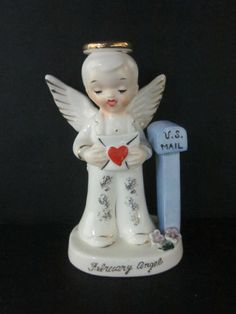 VINTAGE FEBRUARY NAPCOWARE JAPAN  BOY ANGEL BIRTHDAY C-1918 VALENTINE FIGURINE