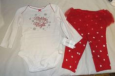 b56668394d24 New Carters Baby Girl First Christmas Outfit Merry Bright Sizes 3 thru 9M  Tutu #Carters