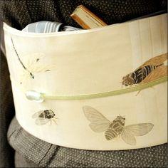 越後上布に虫の帯。蝉や蜻蛉の柄。 #japan #tokyo #setagaya #kimono #obi #越後上布 #着物 #きもの #帯