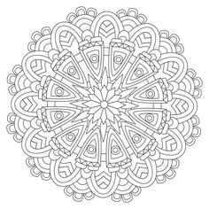 Pattern Coloring Pages, Free Adult Coloring Pages, Flower Coloring Pages, Mandala Coloring Pages, Free Printable Coloring Pages, Coloring Book Pages, Mandala Drawing, Mandala Art, Rug Hooking Patterns