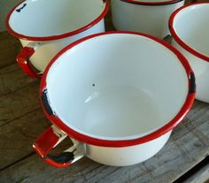 enamelware red & white camping mugs