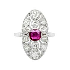 Edwardian platinum openwork ruby and diamond navette ring, circa 1910