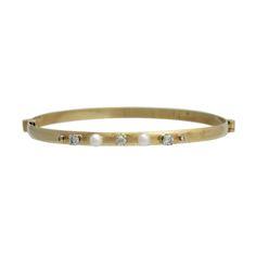 Victorian Style 14K Gold Diamond and Pearl Bangle Bracelet. #695