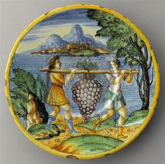 NEVERS - Assiette : La Grappe de Chanaan ou La Terre Promise  Vers 1641 Terre Promise, Images, Tableware, Plate, Dinnerware, Tablewares, Dishes, Place Settings