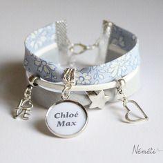 Bracelet liberty bleu ciel capel médaille cabochon prénom ou texte…