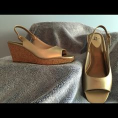 """Slingback Wedges Gold on Gold, 3"""" Slingback Cork Wedges with Open Toes. Worn twice they are as clean as new!   They are very comfortable!  (SH) Life Stride Shoes"""