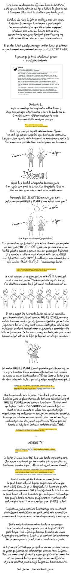 Coucou Bastien - Marion Point CommUn excellent article à propos de sexisme et de harcèlement de rue qui explique bien le problème. A faire lire à tous les hommes (et aux femmes aussi ;-) !)
