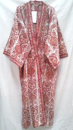 Rich Coral Orange & Rust Paisley Floral Anokhi Hand block print Cotton Boho Chic Long Kimono robe One Size