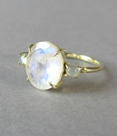 GORGEOUS rainbow moonstone chalcedony and diamond by LeolaRevives