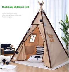 Canvas Teepee Tent, Teepee Play Tent, Kids Tents, Teepee Kids, Childrens Tent, Indian Teepee, House Tent, Children's House, Diy Furniture Decor