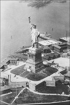 I will see you again Lady Liberty...and this time im bringing the bunch :)--New York City photo of the Statue of Liberty in New York Harbor in 1924