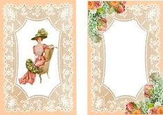 ELEGANT LADY SITTING WITH FAN ON PEACH LACE A5 INSERT on Craftsuprint - Add To Basket!