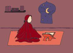 {coloriage} Lecture du Coran au coeur de la nuit