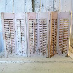 Distressed wooden shutters pink w/ white Shabby cottage chic large romantic vintage 6 panel set weathered home decor anita spero design