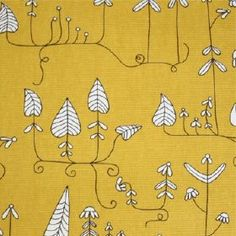 Moorland Yellow fabric from Swedish Fabric Co Yellow Fabric, Color Yellow, Check Curtains, Made To Measure Curtains, Curtain Designs, Yellow Print, Graphic Patterns, Color Pallets, Leaf Prints