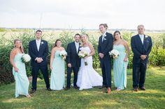 Gold and Teal Summer Wedding | Navy and Teal Bridal Party Portraits