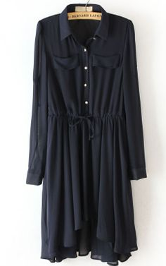 Navy Drawstring Waist Asymmetrical Pleated Dress