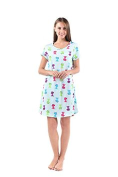 c2134758fc AmoyBaby Womens Cotton Blue Floral Nightgown Casual Nights L XTSY001 House  Dress