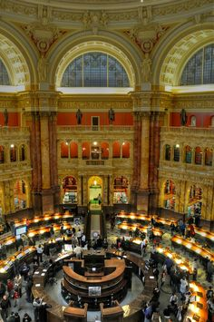 The Library of Congress in Washington, DC, is the largest library in the world by shelf space and number of books. Entrance to the Thomas Jefferson Building is free and open to the public.