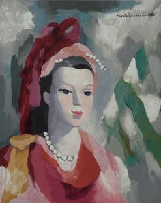 Portrait of a Woman in Red, 1942 by Marie LAURENCIN (French 1883-1956)