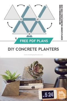 DIY geometric concrete planters made from a cardboard mold. Easy and inexpensive DIY home decor project. Click through for a tutorial and a Free Template to make your own!