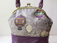 Loveka Handmade: Сумка Воздушные шары: кожа и лен - Balloons Purple Leather/Linen Tote Bag