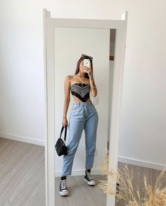 Tumblr Outfits, Swag Outfits, Retro Outfits, Cute Casual Outfits, Look Fashion, Girl Fashion, Fashion Outfits, Outfit Goals, Looks Style