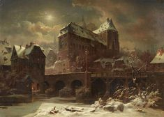 "The #VisualArt ""The moonlight lay everywhere with the natural peace that is granted to no other light."" Franz Kafka View of Marburg with the Old University, Lahnbrücke & Deutschherrenmühle, 1868 ‍Eduard Elias Stiegel (1818-1879) was an German painter. #HistoryofPainting"