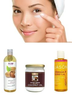 DIY night eye cream: Pure Coconut oil (moisturiser), Pure Sweet almond oil (lightens dark circles), 100% Vitamin E Oil (rich in antioxidants), helps to lighten the skin, reduces fine lines and wrinkles.