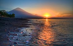 Sunset with Mount Agung in Amed, Bali. Indonesia