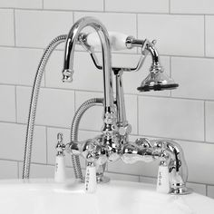 """Allister Deck-Mount Tub Faucet and Hand Shower, Chrome.8"""" centers. SKU904563. $353.95.  MASTER TUB."""