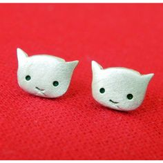 Cute cat earring studs in sterling silver ($23) ❤ liked on Polyvore